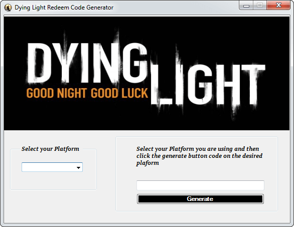 Dying Light Redeem Code Generator Screenshot