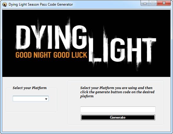 Dying Light Season Pass Code Generator Screenshot