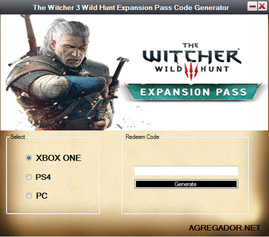 The Witcher 3 Wild Hunt Expansion Pass Code Generator XBOX ONE