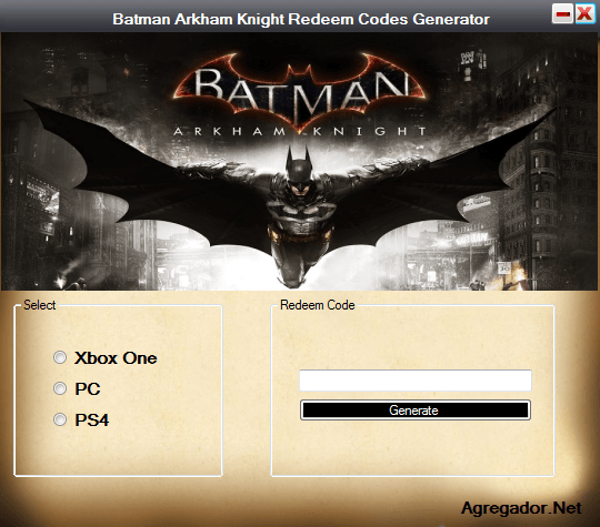 Batman Arkham Knight Redeem Codes Generator Screenshot