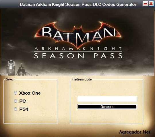 Batman Arkham Knight Season Pass DLC Codes Generator Screenshot