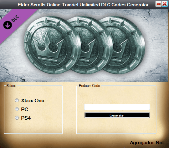 Elder Scrolls Online Tamriel Unlimited DLC Codes Generator Screenshot