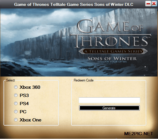 Game of Thrones Telltale Game Series Sons of Winter DLC Code Screenshot