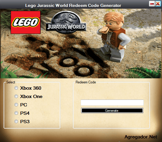 Lego Jurassic World Redeem Code Generator Screenshot