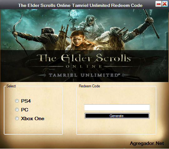 The Elder Scrolls Online Tamriel Unlimited Redeem Codes Generator Screenshot