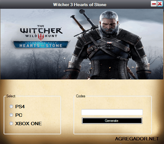 The Witcher 3 Hearts of Stone DLC Code Generator Screenshot