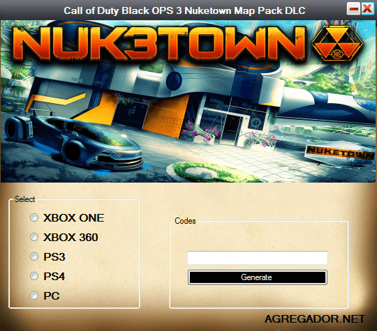 Call of Duty Black OPS 3 Nuketown Map Pack DLC Codes