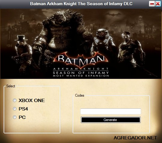 Batman Arkham Knight The Season of Infamy DLC Codes